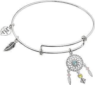 Sterling Silver Dream Catcher CZ Heart Feather Dangle Charm Adjustable Bangle Bar Bracelet