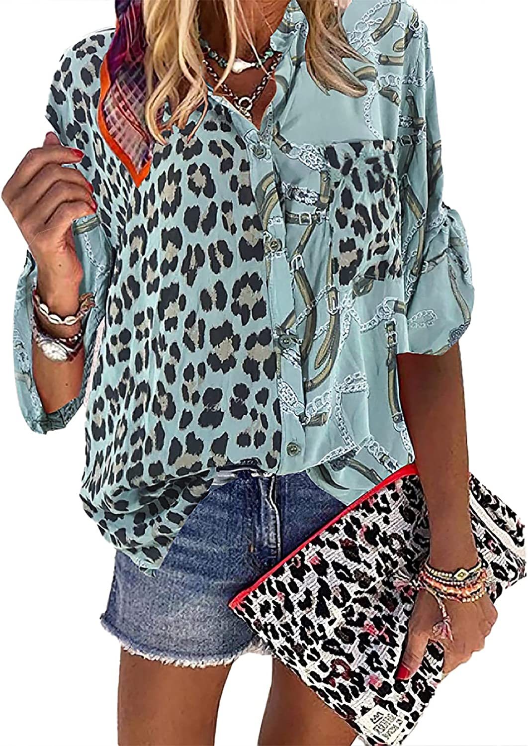 Akivide Women's Casual Leopard Button Down Blouse Shirt Long Sleeve Tunic Tops