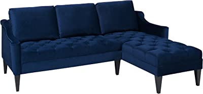 Jennifer Taylor Home Amilia Amelie Tufted Reversible Chaise Sectional Navy Blue