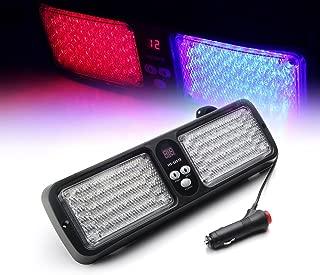 Xprite Red & Blue 86 LED 12 Modes Windshield SunShield Law Enforcement Emergency Hazard Warning Strobe Lights for 12V Vehicle Sun Visor