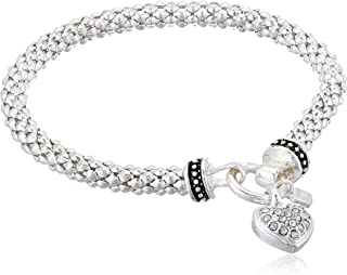 Women's Boxed Bracelet Pave Heart Stretch, Silver/Crystal, Silver