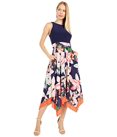 Vince Camuto Printed Crepe De Chine Handkerchief Hem Twofer with Jersey Bodice (Navy Multi) Women