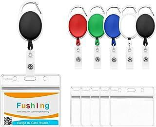 Fushing Lot de 5 porte-badges horizontaux en PVC avec mousqueton rétractable (multicolore)