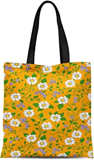 S4Sassy Pink Leaves & White Flower Floral Print Canvas Shopping Tote Bag Carrying Handbag Casual Shoulder Bag 16x12 Inches