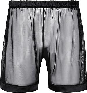 JEATHA Men's Sheer Mesh See Through Boxer Shorts Loose Lounge Trunks Undershorts