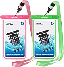 Mpow Fluorescent Waterproof Phone Pouch, Universal IPX8 Waterproof Case Dry Bag with Extra Wrist Strap for iPhone 11/Xs Max/XS/XR/X/8/7, Galaxy S10/S9, Google Pixel/HTC up to 6.5 Inches(Pink+Green)