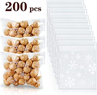 200 Pieces Snowflake Cellophane Bags Christmas White Candy Bags Cookie Self Adhesive Plastic Bags Clear Gift Wrapping Bags for Wedding Holiday Party Supplies (6.7 x 5.5 Inch)