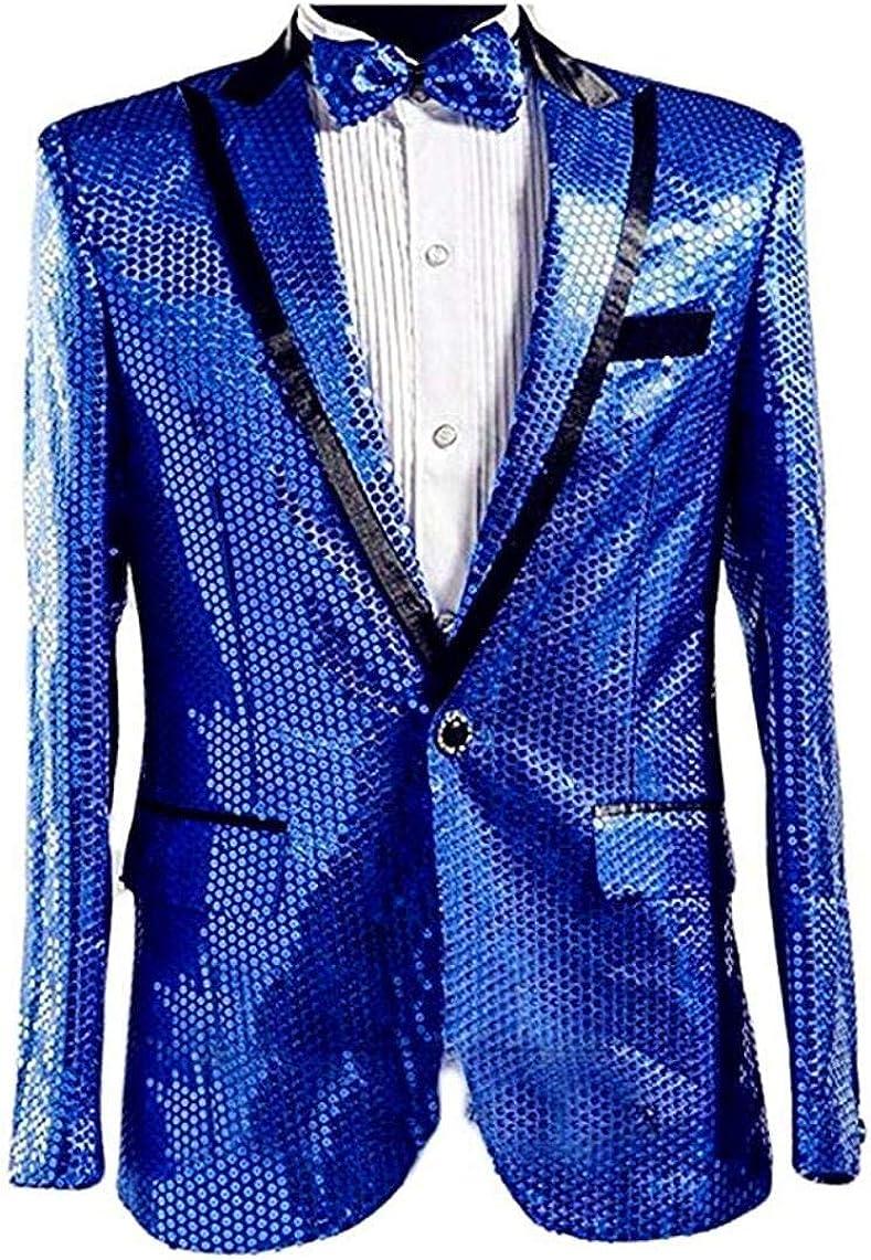 Men's Royal Blue Sequined Nightclub Tuxedo One Button Blazer Jacket Wedding Coat Royal Blue 48 Chest / 42 Waist