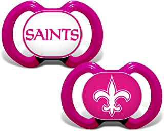 Baby Fanatic NFL Legacy Infant Pacifiers, New Orleans Saints Pink, 2 Pack