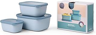 Mepal Cirqula Multi Rectangular 3-Piece (750 + 1500 + 3000 ml) Nordic Blue-Bowl Set-Food Storage Containers-Stackable-Dish...
