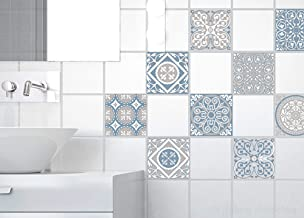 PLAGE 9 tegels stickers cementtegels grijs, vinyl, grijs, 10 x 0,1 x 10 cm