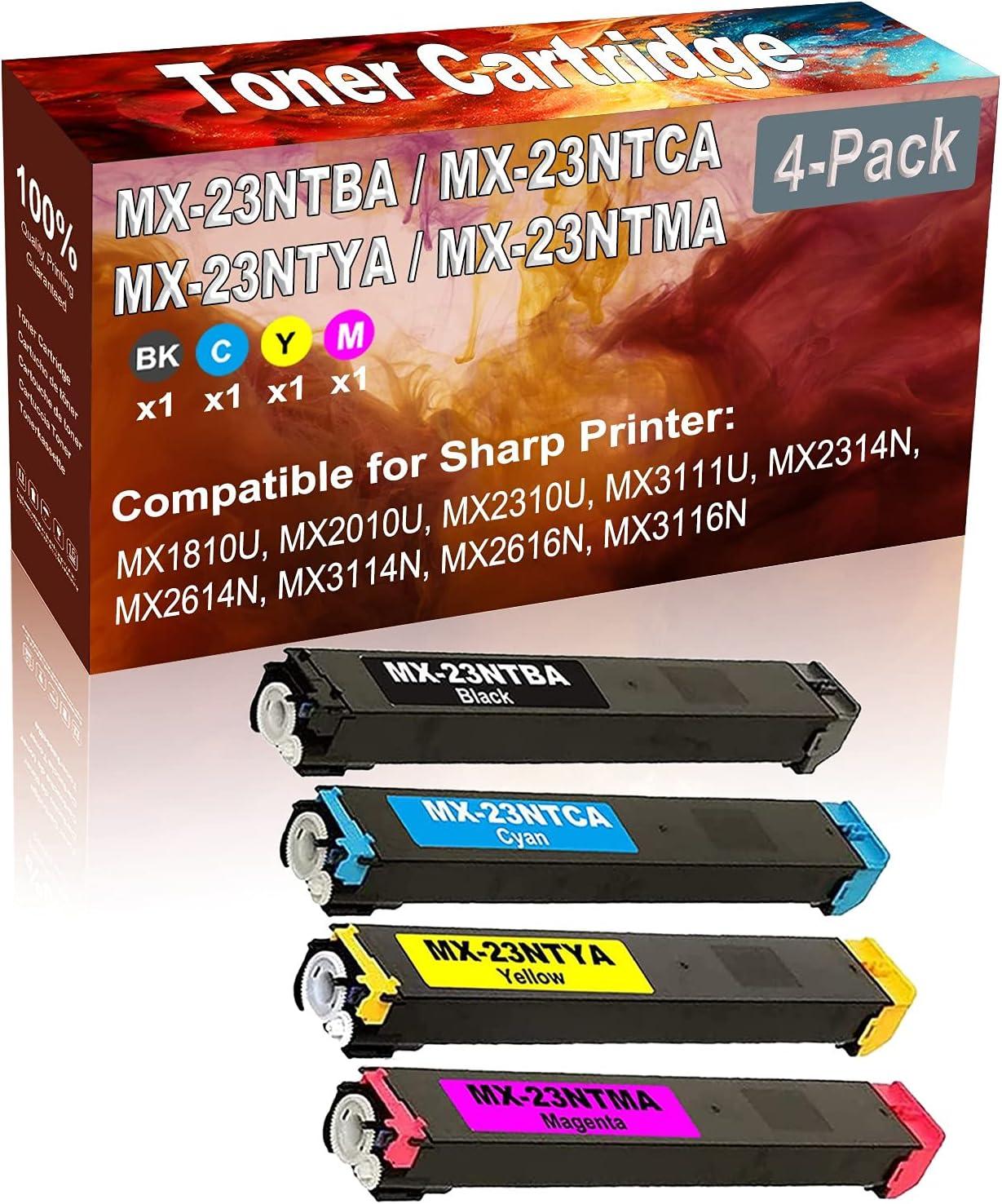 4-Pack (BK+C+Y+M) Compatible MX1810U MX2010U MX2310U Laser Printer Toner Cartridge (High Capacity) Replacement for Sharp MX-23NTBA MX-23NTCA MX-23NTYA MX-23NTMA Printer Toner Cartridge