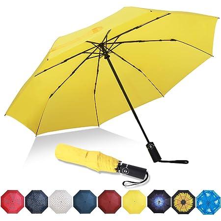Amazon Brand - Eono Paraguas Plegable Automático Impermeable, Paraguas de Viaje a Prueba de Viento, Folding Umbrella, Recubrimiento de Teflón&Dosel Reforzado, Mango Ergonómico - Amarillo