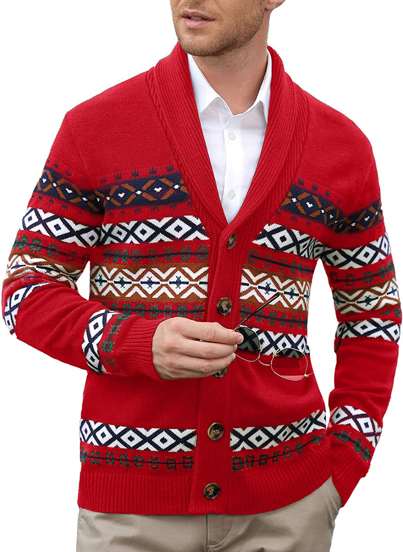 1960s Mens Shirts | 60s Mod Shirts, Hippie Shirts PJ PAUL JONES Mens Knitted Cardigan Sweaters Shawl Lapel Cable Fair Isle Pattern Sweater  AT vintagedancer.com