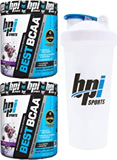 BPI Sports Best BCAA Peptide Linked Branched Chain Amino Energy Powder, 10.58oz, Pack of Two 30 Servings (Grape 2 x 30svg) with Official BPI Shaker