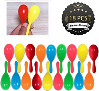 18PCS 4 Inch 6 Color Neon Maracas Shakers Mini Bulk Bright Colorful Noisemaker for Classroom Musical Instrument and Mexican Cinco de Mayo Fiesta's Centerpiece Decoration Educational Toys for Kids