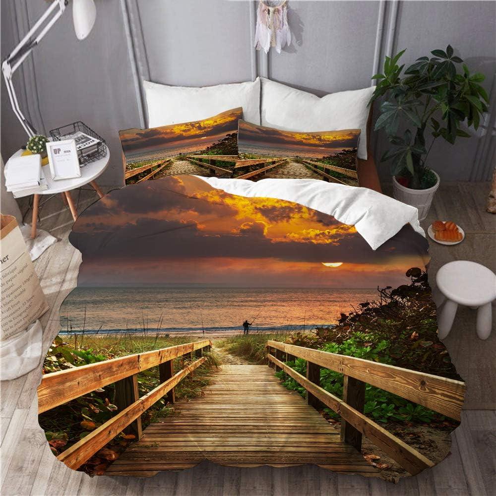 Omaha Mall YOLIKA High material Duvet Cover Set Boardwalk on at Decorative Beach Sunrise