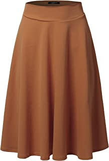 Women's High Waist Flare A-Line Midi Skirt with Plus Size