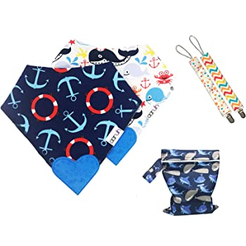 Twin Pack Colours//Design May Vary Dribble Catcher 0 Months Nuby 4275 Bandana Bibs Dribble Bibs Soft and Absorbent for Teething and Dribbles