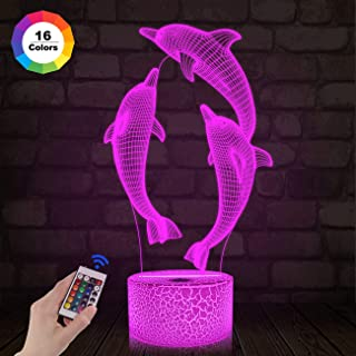 FULLOSUN Night Light for Kids Dolphin 3D Night Light Porpoise Illusion Lamp with Remote Control 16 Color Changing Xmas Halloween Birthday Gift for Child Baby Boy (Remote - Ice Crack Base)
