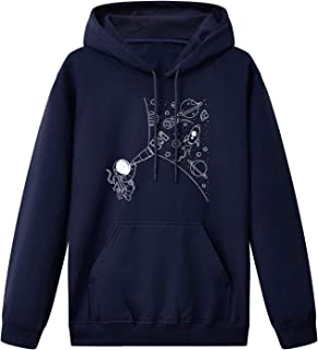 Unisex Casual Hoodie,The Astronaut Look At Space Through Telescopes Soft Printing Pullover