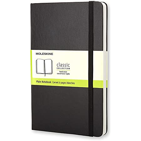 """Moleskine Classic Notebook, Hard Cover, Large (5"""" x 8.25"""") Plain/Blank, Black, 240 Pages"""