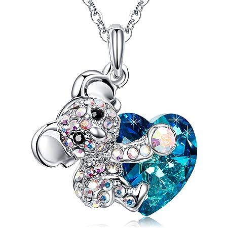 MEGA CREATIVE JEWELRY Collar Corazón Azul Koala Colgante para Mujer Regalo Hija Niñas Esposa Madre Joyería con Cristales