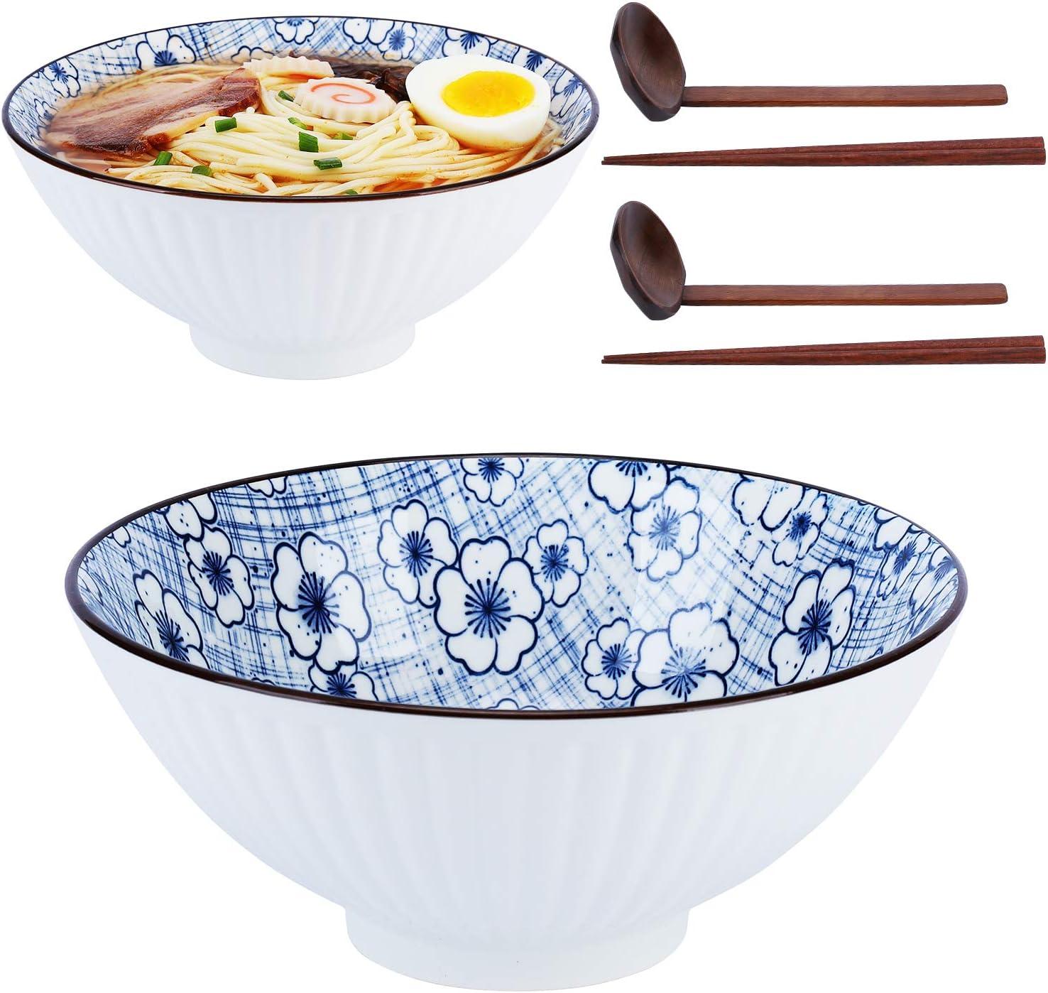 NJCharms Japanese Ceramic Ramen Noodle Bowls 2 Sales Cash special price results No. 1 4 Sets Piece 6
