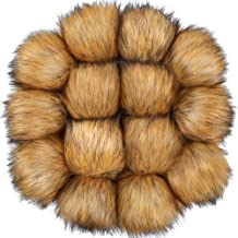 Auihiay 14 Pieces DIY Faux Fur Fluffy Pompoms Ball for Hats Shoes Scarves Keychains Bag Charms(Natural Brown)