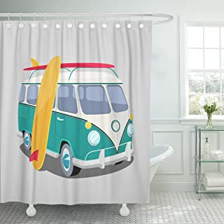 Emvency Shower Curtain Bus Surfer Van Graphics Transportation and Surfing Sport Board Camper Surf Waterproof Polyester Fabric 72 x 72 inches Set with Hooks