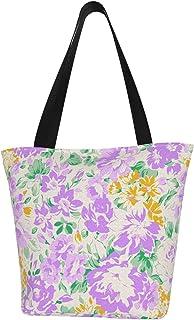 紫と白のカラーマップ レディースショルダーバッグ大容量ファッションカジュアル再利用可能なショッピングバッグ再利用可能なショッピングバッグはあなたのショッピングニーズを完全に満たします。軽量の布製ショッピングバッグは新鮮な果物や野菜、牛乳、パン、...