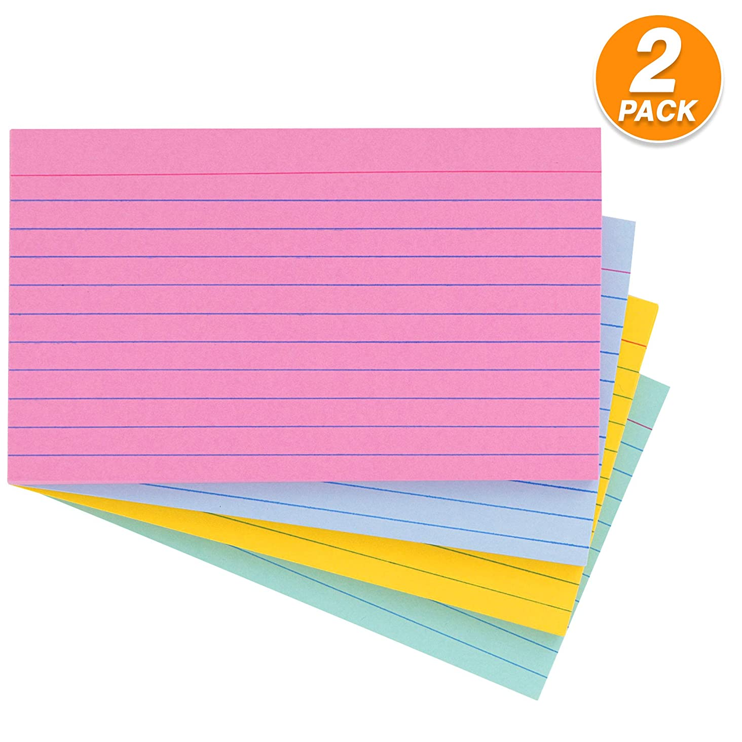 """Emraw Ruled Colored Index Card Plain Back 3""""x5"""" – For School, Home & Office (Pack of 200 Count)"""