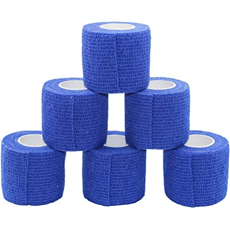 colore: Blu Nastro adesivo elastico per calze e parastinchi PremSox confezione da 2 7,5 cm x 4,5 m