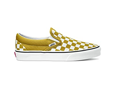 Vans Classic Slip-On ((Checkerboard) Olive Oil/True White) Skate Shoes