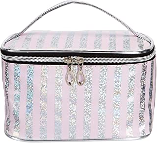 Amazon Brand - Solimo Cosmetic, Makeup & Toiletries Pouch (Glitter; Light Pink)