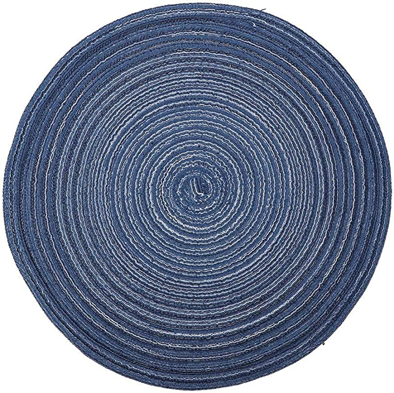 Jeffergarden Placemat Round Anti Slip Heat Resistant Washable Placemat Dining Table Mat Home Office Decor For Kitchen 18 Cm Blue
