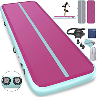 Furgle 3.3ft/10ft/13ft/16ft/20ft Inflatable Gymnastic Mat, 4/6/8 inches Thickness Tumbling Air Track for Gymnastics/Yoga/Cheerleading Training Airtrack Mat