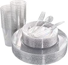 WDF 150pcs Silver Plastic Plates with Disposable Plastic Silverware&Silver Cups- Silver Glitter Design include 25 Dinner P...