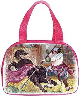 Polychromatic Optional Small Handbag Pink,Japanese,Brave Samurai with His Lance Fighting Against Black Demon Wolf Wild Battle Theme,Black Yellow,for Girls,Print Design.6.3