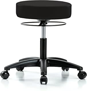 PERCH Stella Rolling Height Adjustable Salon & Spa Stool for Hardwood or Tile | Desk Height 18.5-24 Inches | 300-Pound Weight Capacity | 12 Year Warranty (Black Vinyl)