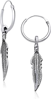 Hypoallergenic Sterling Silver Feather Endless Hoop Earrings