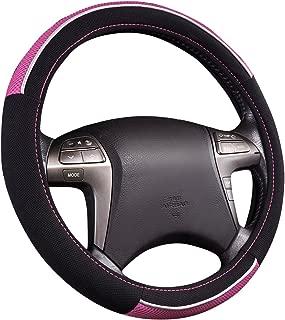 HORSE KINGDOM Universal Steering Wheel Cover Women Girls Breathable Fit Car Truck SUV Sedans Air-mesh (Black Pink)