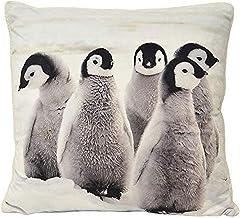 Riva Paoletti Penguins Filled Cushion - White - Graphic Animal Print - Sherpa Fleece Reverse - Hidden Zip Closure - Machin...
