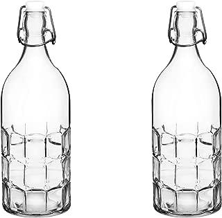 Set Of 2, Colorful Reusable Glass Water Bottles With Swing Top Leakproof Cap, 1L / 34oz, Flowersea Glasss Water Bottle for Oil, Vinegar, Beverages, Beer, Water, Kombucha, Kefir, Soda (Clear, Grid)