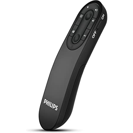 Philips Wireless Presenter Remote - Wireless Presentation Clicker for PowerPoint Presentations with Red Laser Pointer, 2.4GHz, USB Control, Plug and Play