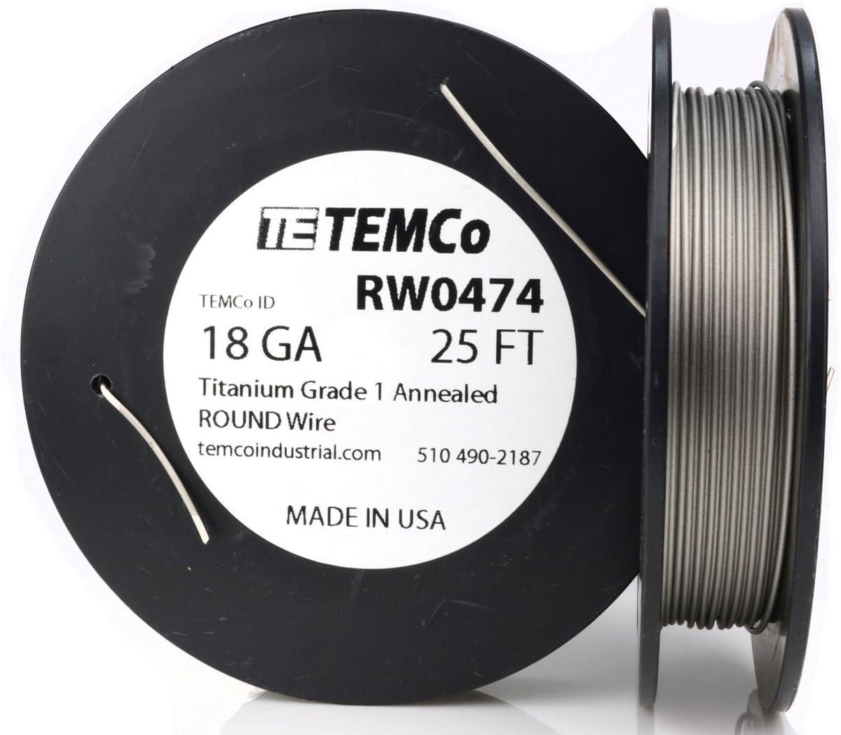TEMCo Titanium Wire 18 Gauge Popular popular Max 54% OFF 25 Grade Resistance Surgical A 1 Ft