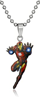 Marvel Comics Boys' Stainless Steel Ironman Figure Chain Pendant Necklace, 16""