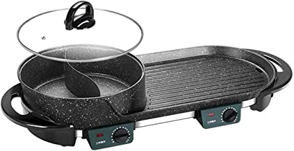 Grill électrique portable, Barbecue électrique chaude avec couvercle portable 2 en 1 électrique chaude chaude barbecue fon...