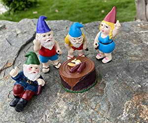 Fairy Garden Accessories Outdoor, Garden Gnomes Decorations, 5 PCS Set Mini Garden Gnomes Figurines of Garden Decor for Fairy Garden, Aquarium, Patio&Lawn, Yard Art Decoration