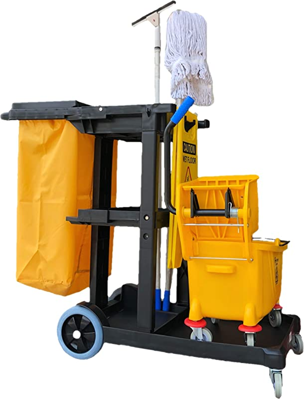 Simpli Magic 79191 Janitorial Cart Commercial Yellow Grey